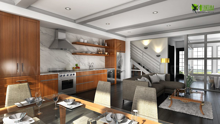 Residential 3D Interior Kitchen Design Кухня в стиле модерн от Yantram Architectural Design Studio Модерн