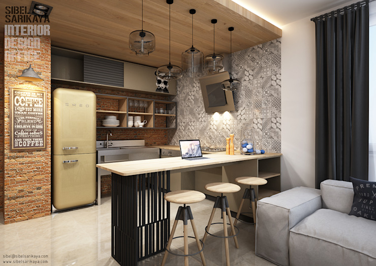 Cocinas de estilo  por SIBEL SARIKAYA INTERIOR DESIGN OFFICE, Industrial