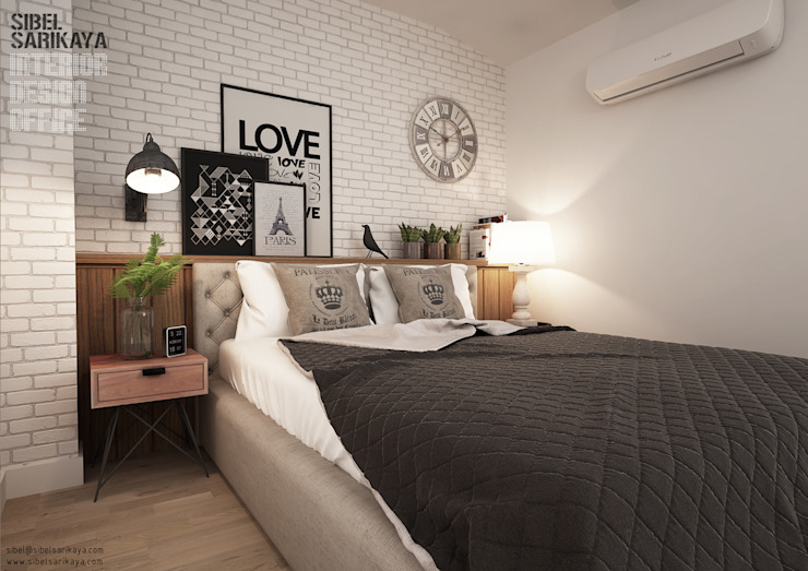Chambre industrielle par SIBEL SARIKAYA INTERIOR DESIGN OFFICE Industriel