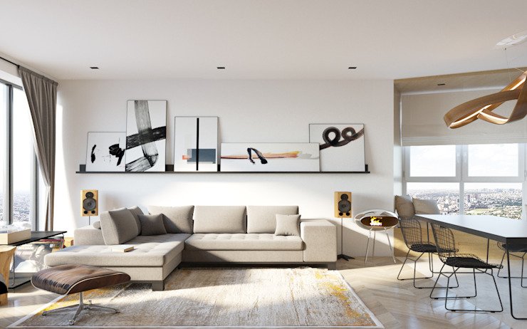 homify Minimalist living room White