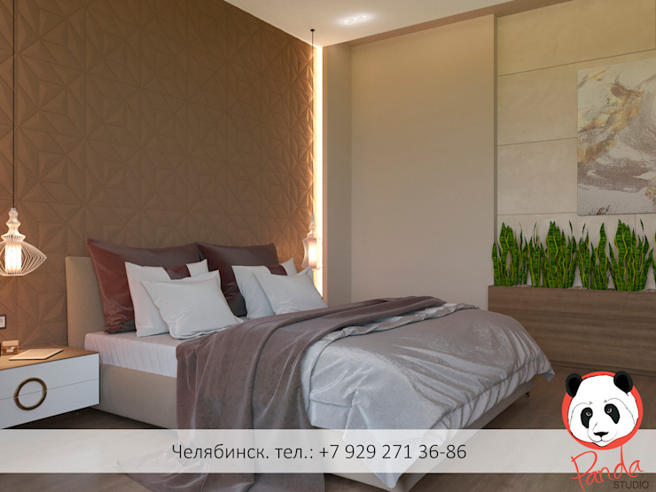 Modern bedroom in the private house Minimalist bedroom by Panda Studio Minimalist