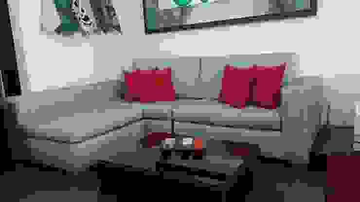 sofa L tres puestos de LA CORTINERIA Moderno Textil Ámbar/Dorado