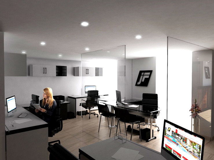 Modern Study Room and Home Office by Jorge Osorio Arquitecto Modern Glass