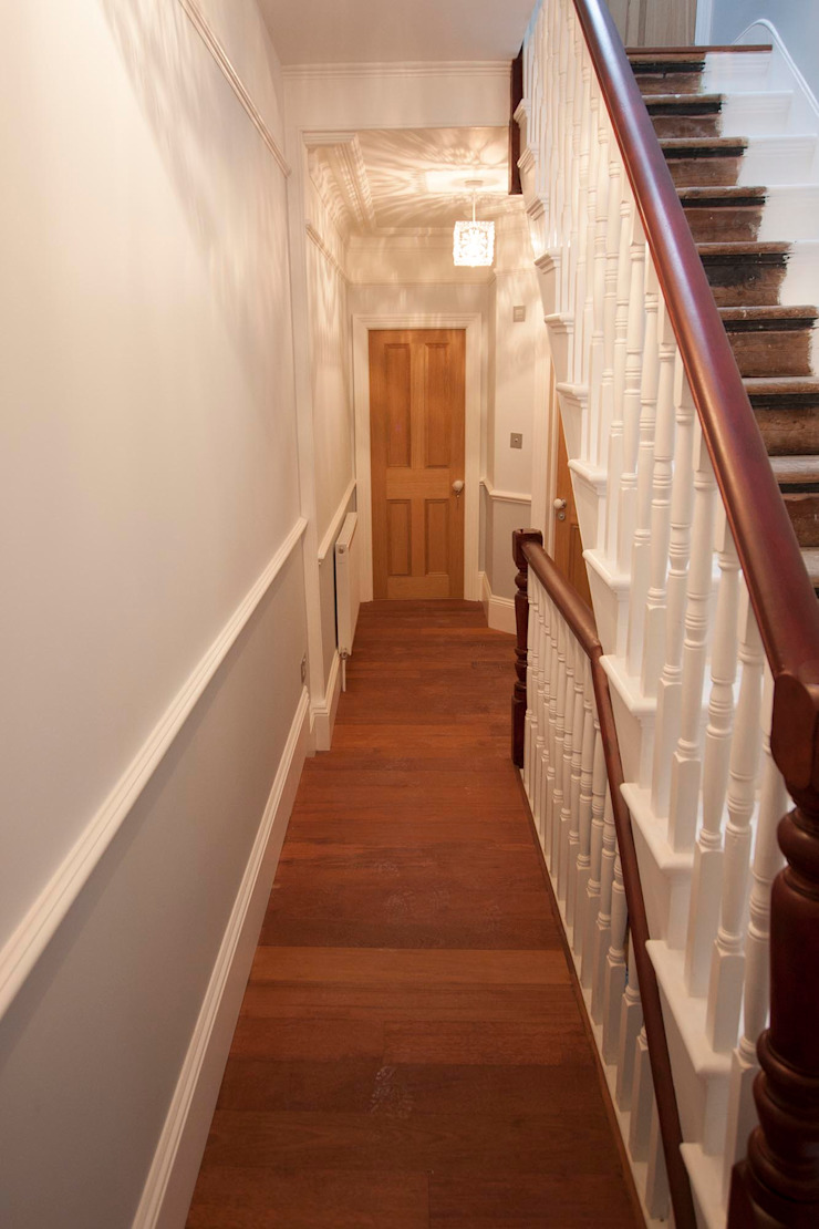 Full interior house painting, South West London The Hamilton Group Classic style corridor, hallway and stairs