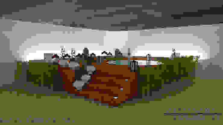 Área de lazer com ofurô Spa moderno por Diogo Alvarez Arquitetura e projetos 3D Moderno Madeira Efeito de madeira