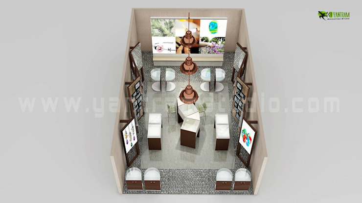 Top View of 3D Floor Plan Design for Jewelery shop por Yantram Architectural Design Studio