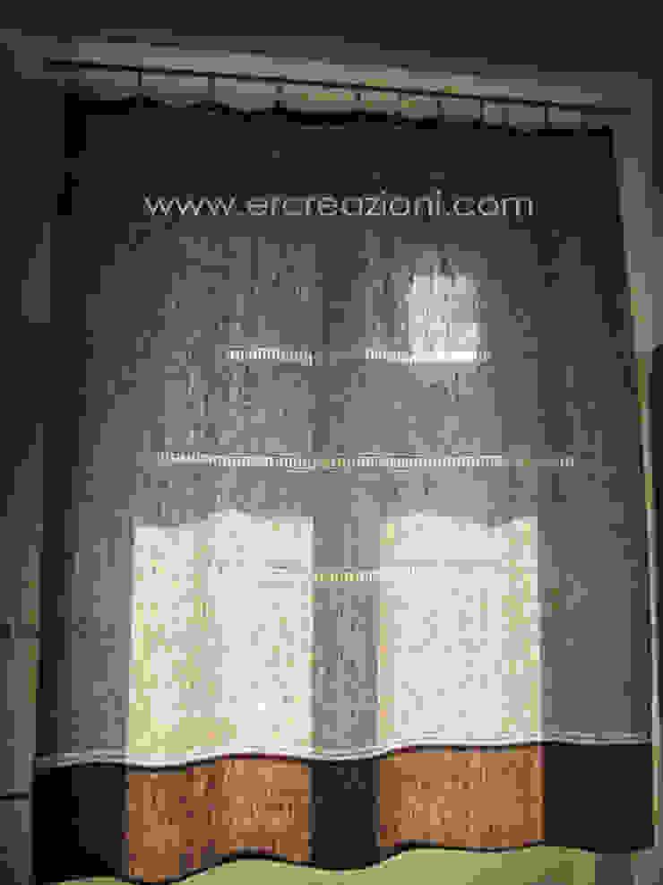 Tenda in lino ecru ricamata a mano ad ajour di ERcreazioni - Eleonora Rossetti Creazioni Classico Lino Rosa