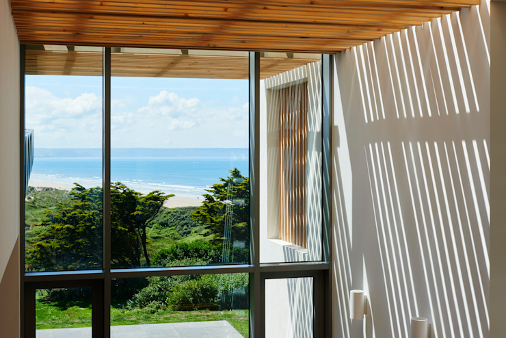 Sandhills Brise Soleil and Views Modern corridor, hallway & stairs by Barc Architects Modern Wood Wood effect