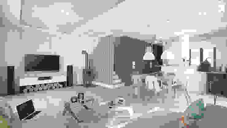 DUOTRZYDWA Skandynawski salon od NA NO WO ARCHITEKCI Skandynawski Beton