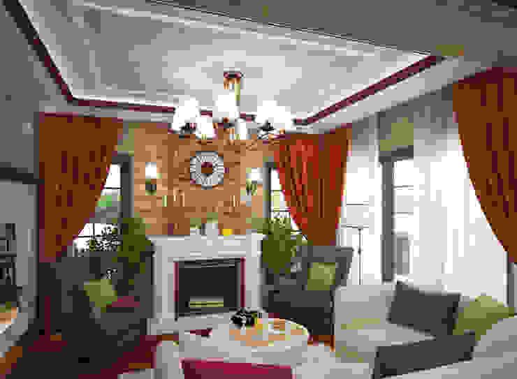 Студия дизайна Виктории Силаевой Wohnzimmer im Landhausstil Holz Beige