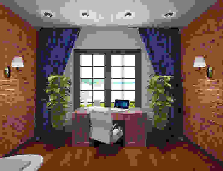 Студия дизайна Виктории Силаевой Arbeitszimmer im Landhausstil Holz Braun