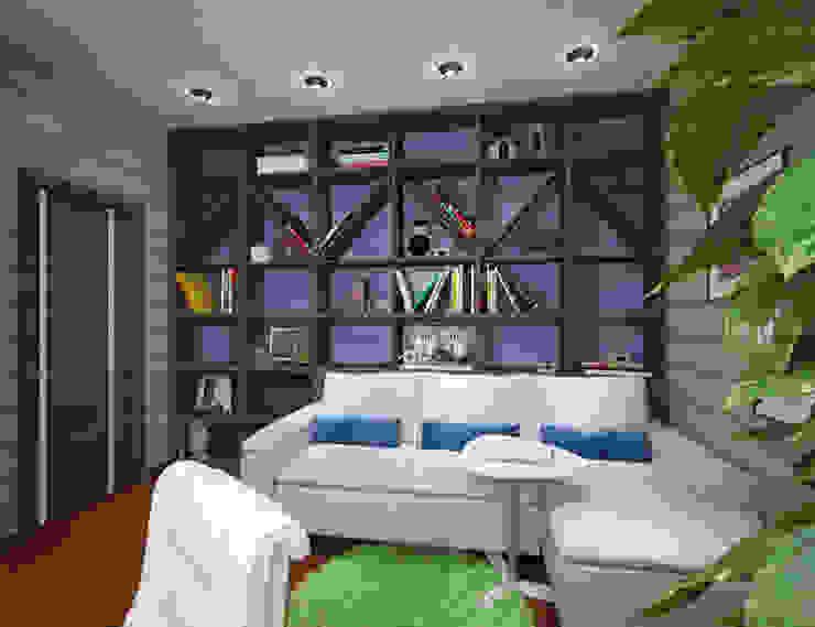 Студия дизайна Виктории Силаевой Arbeitszimmer im Landhausstil Holz Blau