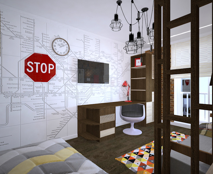 Студия дизайна Виктории Силаевой Industriale Kinderzimmer Weiß