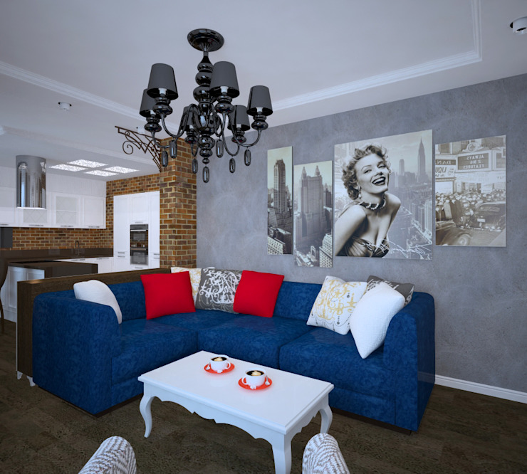 Студия дизайна Виктории Силаевой Industrial style living room Grey