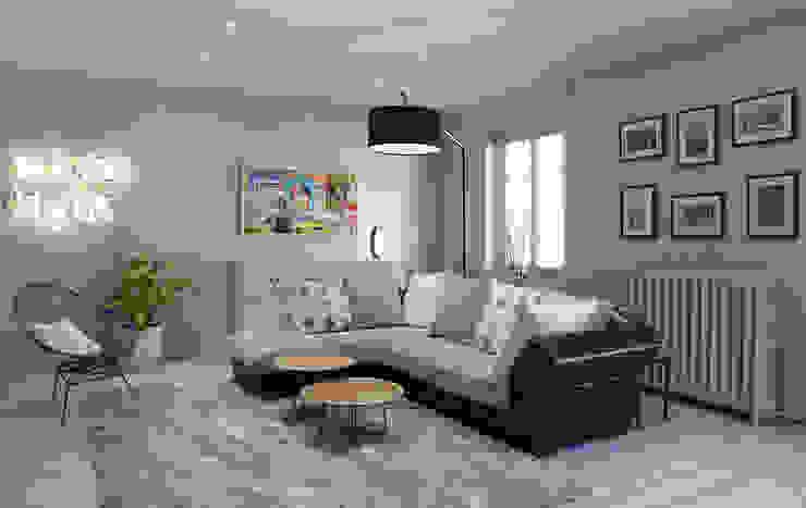 Un salon gris perle et bleu pétrole Salon moderne par homify Moderne Bois Effet bois