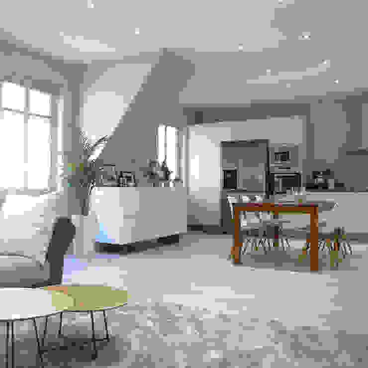 Une pièce à vivre gris perle et bleu pétrole Salle à manger moderne par homify Moderne Bois Effet bois