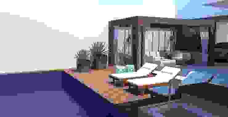 Pergolado + Piscina Piscinas modernas por Arquiteto Virtual - Projetos On lIne Moderno Madeira Efeito de madeira