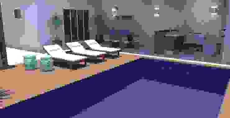 Piscina + Área Gourmet Piscinas modernas por Arquiteto Virtual - Projetos On lIne Moderno Madeira Efeito de madeira