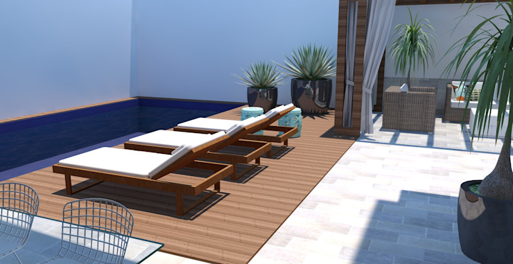 Piscina + Deck Piscinas modernas por Arquiteto Virtual - Projetos On lIne Moderno Madeira Efeito de madeira