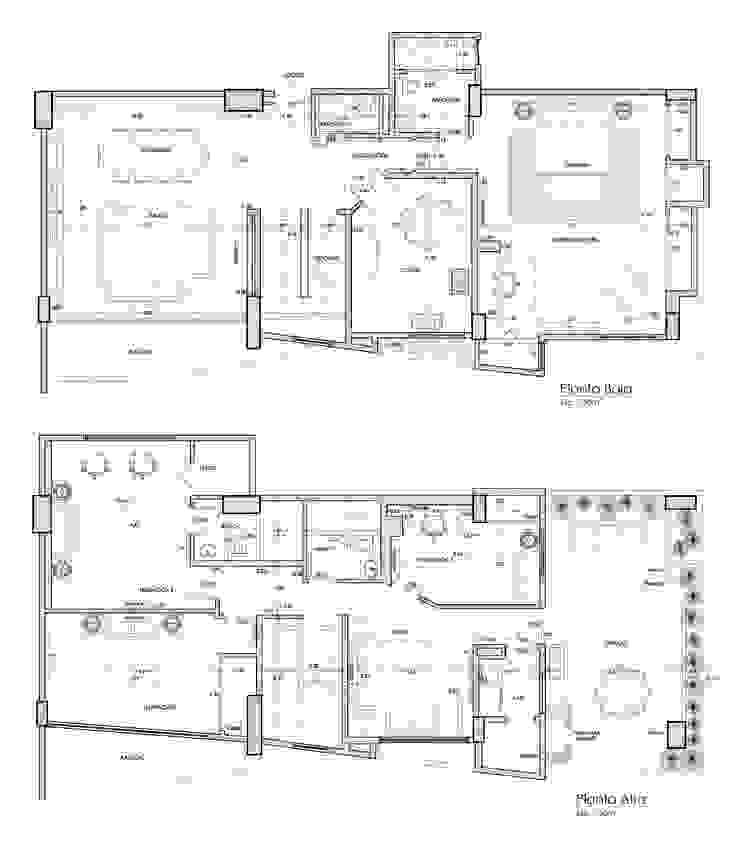 Planos de Distribución y Mobiliario Paredes y pisos de estilo moderno de 5D Proyectos Moderno