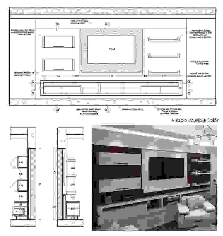 Planos de Detalles y 3Ds de Mueble de Entretenimiento Salas de estilo moderno de 5D Proyectos Moderno