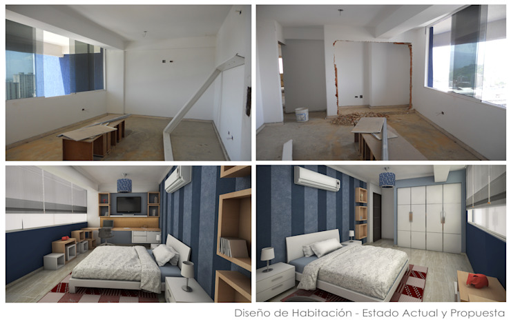 Estado Original de las Habitaciones y Propuesta 3D Cuartos de estilo moderno de 5D Proyectos Moderno