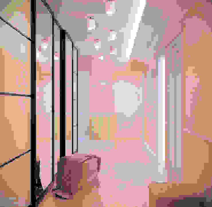 Дизайн прихожей в ЖК по ул. Димитрова Коридор, прихожая и лестница в модерн стиле от Студия интерьерного дизайна happy.design Модерн