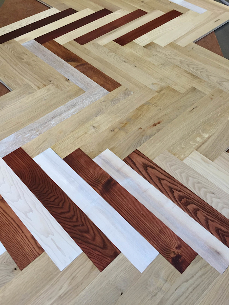 Oak and ash parquet flooring : country  by TF, Country Engineered Wood Transparent