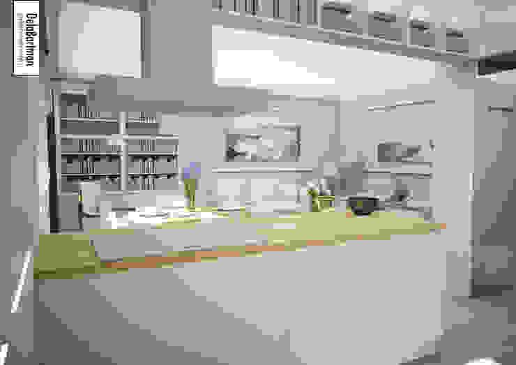 Kuchenna wyspa z białą płytą indukcyjną Eklektyczna kuchnia od DelaBartman Eklektyczny