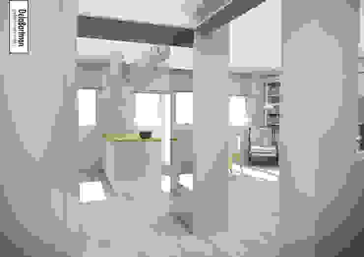 Lustro na wymiar poszerzające przestrzeń Eklektyczny korytarz, przedpokój i schody od DelaBartman Eklektyczny