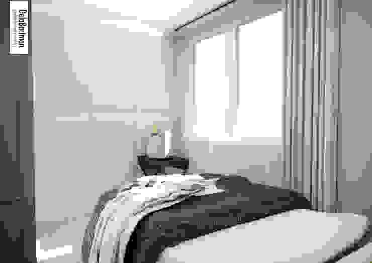 Mieszkanie inspirowane stylem Hampton Eklektyczna sypialnia od DelaBartman Eklektyczny