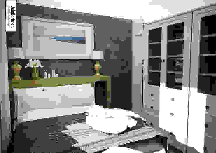 Zagłówek łóżka z wnęką i szufladami Eklektyczna sypialnia od DelaBartman Eklektyczny
