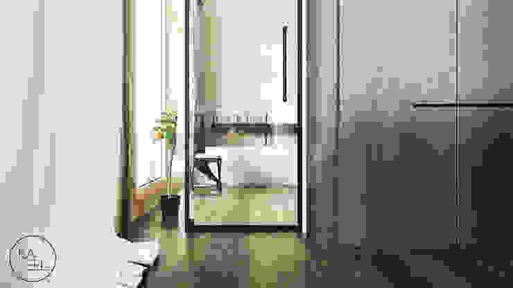KOLEJOWA Nowoczesny korytarz, przedpokój i schody od KAEL Architekci Nowoczesny Drewno O efekcie drewna