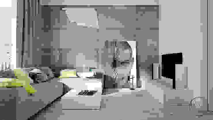 Soggiorno minimalista di KAEL Architekci Minimalista Cemento