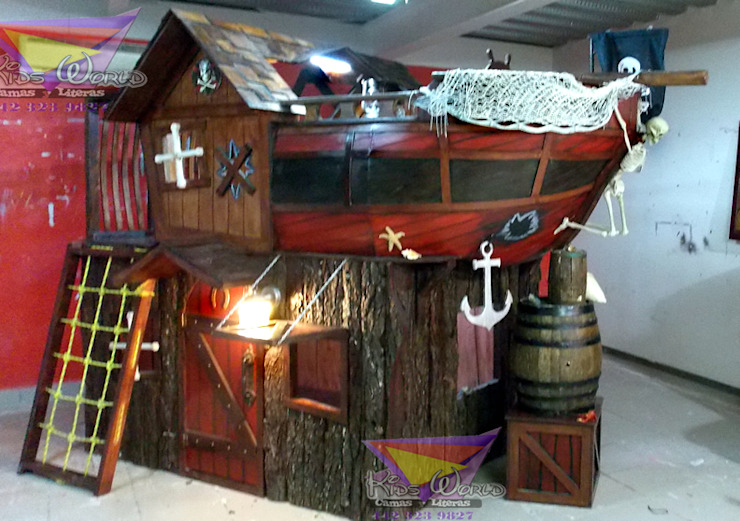 Impactante litera barco de Kids Wolrd- Recamaras Literas y Muebles para niños Clásico Derivados de madera Transparente