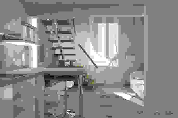 Progetto arredamento di interni mini appartamento Arch. Giorgia Congiu Sala da pranzo moderna Bianco