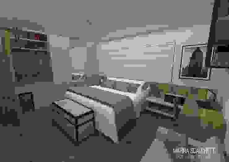 Perspectiva do flat com vista para o dormitório Quartos modernos por Marina Scacchetti Arquitetura e Interiores Moderno