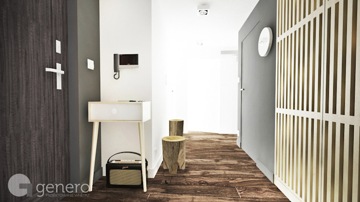 Mieszkanie, Poznań Nowoczesny korytarz, przedpokój i schody od GENERO Nowoczesny