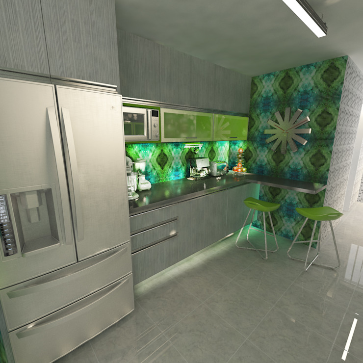 Cocinas de estilo  por OPFA Diseños y Arquitectura, Moderno Tablero DM