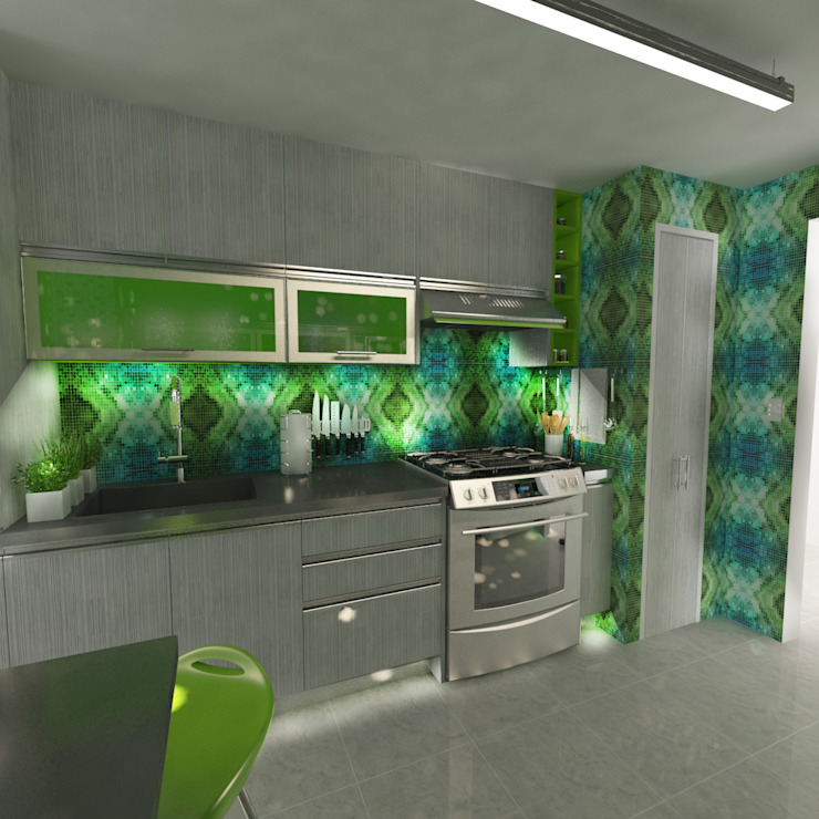 OPFA Diseños y Arquitectura Modern Kitchen MDF Multicolored