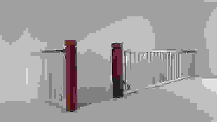 Barandilla decapada en blanco MUDEYBA S.L. Vestíbulos, pasillos y escalerasEscaleras Madera maciza Gris