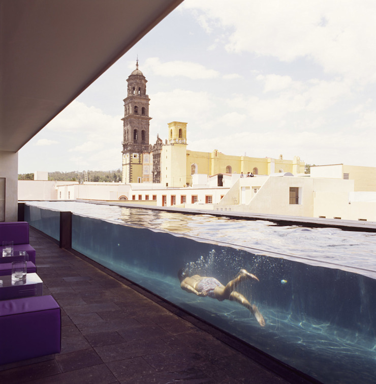 Hotel La Purificadora Albercas modernas de Serrano Monjaraz Arquitectos Moderno