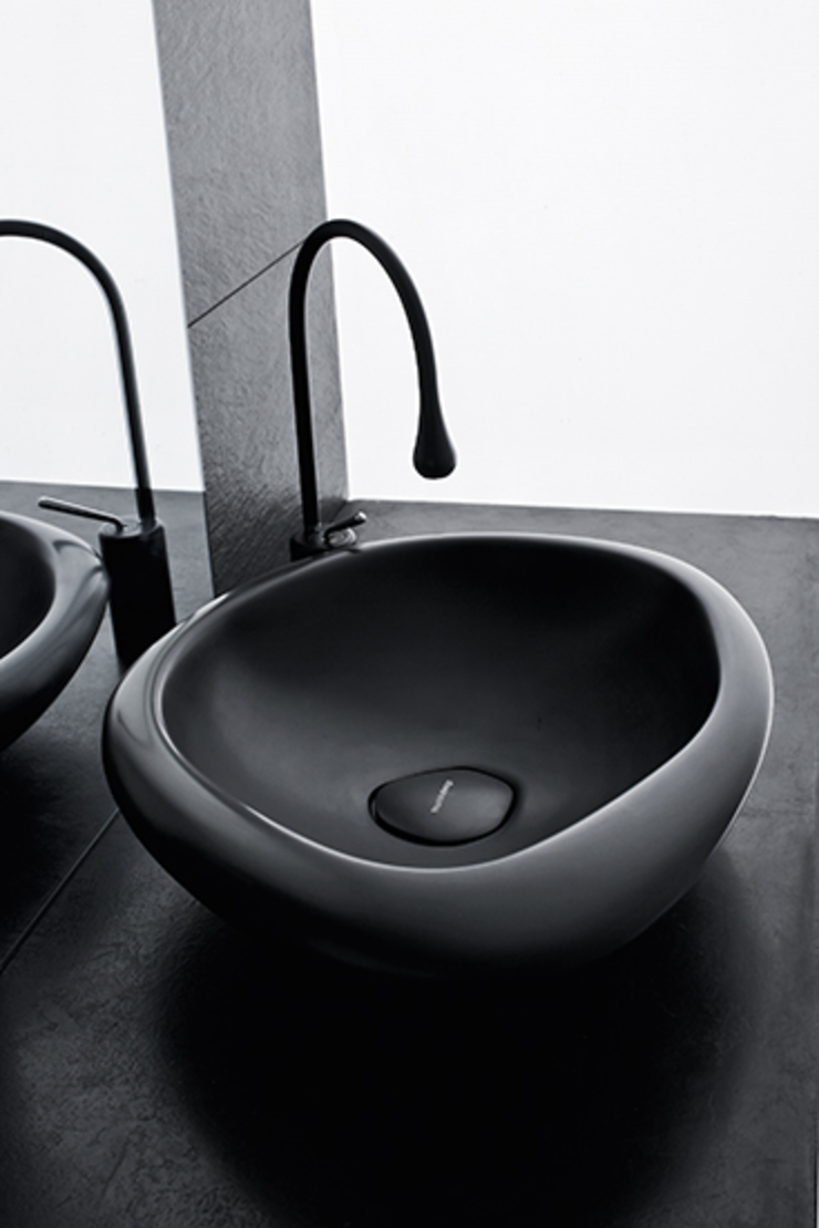 Sasso sit-on wash basin black version Mastella Design BagnoLavabi Sintetico Nero