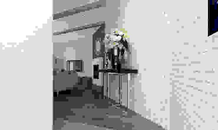 AG Interior Design Modern Corridor, Hallway and Staircase White