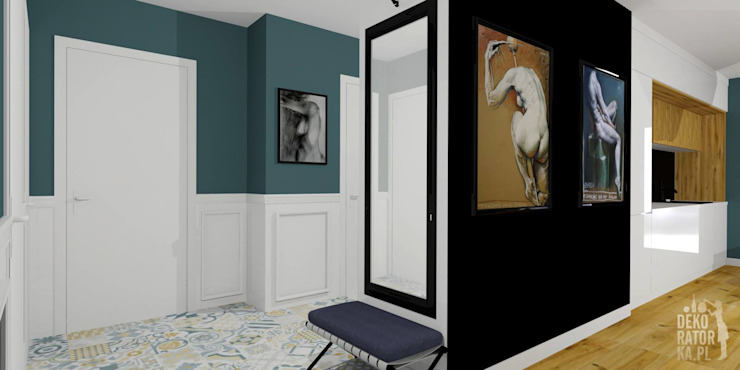 Eclectic style corridor, hallway & stairs by dekoratorka.pl Eclectic