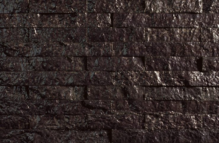Heavy Metal - Split-faced Glazed Lava Bricks make great wall features Eclectic style houses by De Ferranti Eclectic