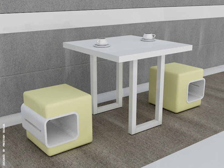 Coffee table + box stools: modern  by Preetham  Interior Designer,Modern