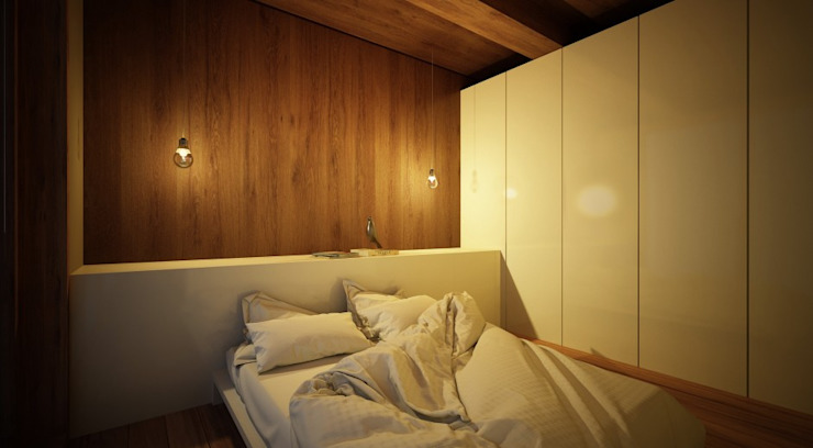Bedroom by Maqet, Scandinavian Wood Wood effect