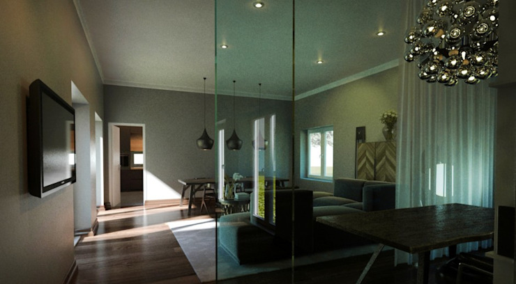Moradia Salas de estar modernas por Maqet Moderno
