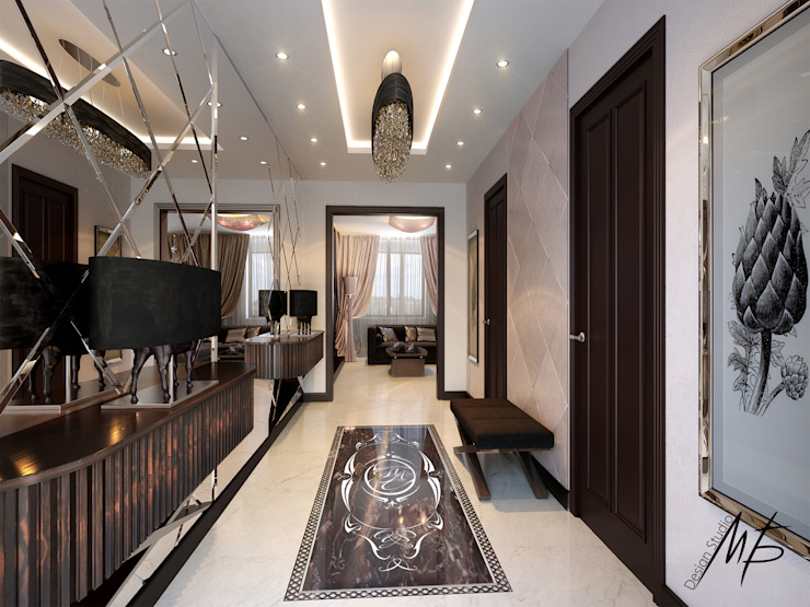 Couloir, entrée, escaliers modernes par Студия Марии Боровской Moderne